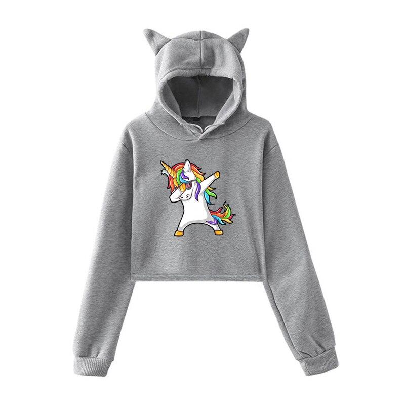 Harajuku Sweatshirt Funny Unicorn Hoodies Bluza Damska Women Pullover Clothes For Teenage Girls Autumn Warm Streetwear Clothing