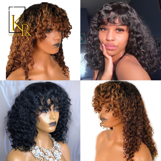 150% 1B/27 Ombre Color 13x4 Lace Front Human Hair Wigs With Bangs Curly Bob Pixie Cut Wigs PrePlucked Indian Remy VSBOB