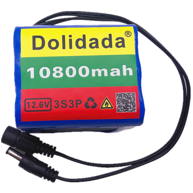 3S3P 12V Battery Original  12V10.8Ah 10800mAh 18650 Rechargeable Batteries 12V With BMS Lithium Battery Protection Plate