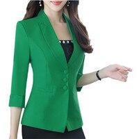 Autumn Women Career Fashion Half Sleeve Womens Blazer New Spring Formal Slim Gackets Office Ladies Plus size Work Wear Uniform