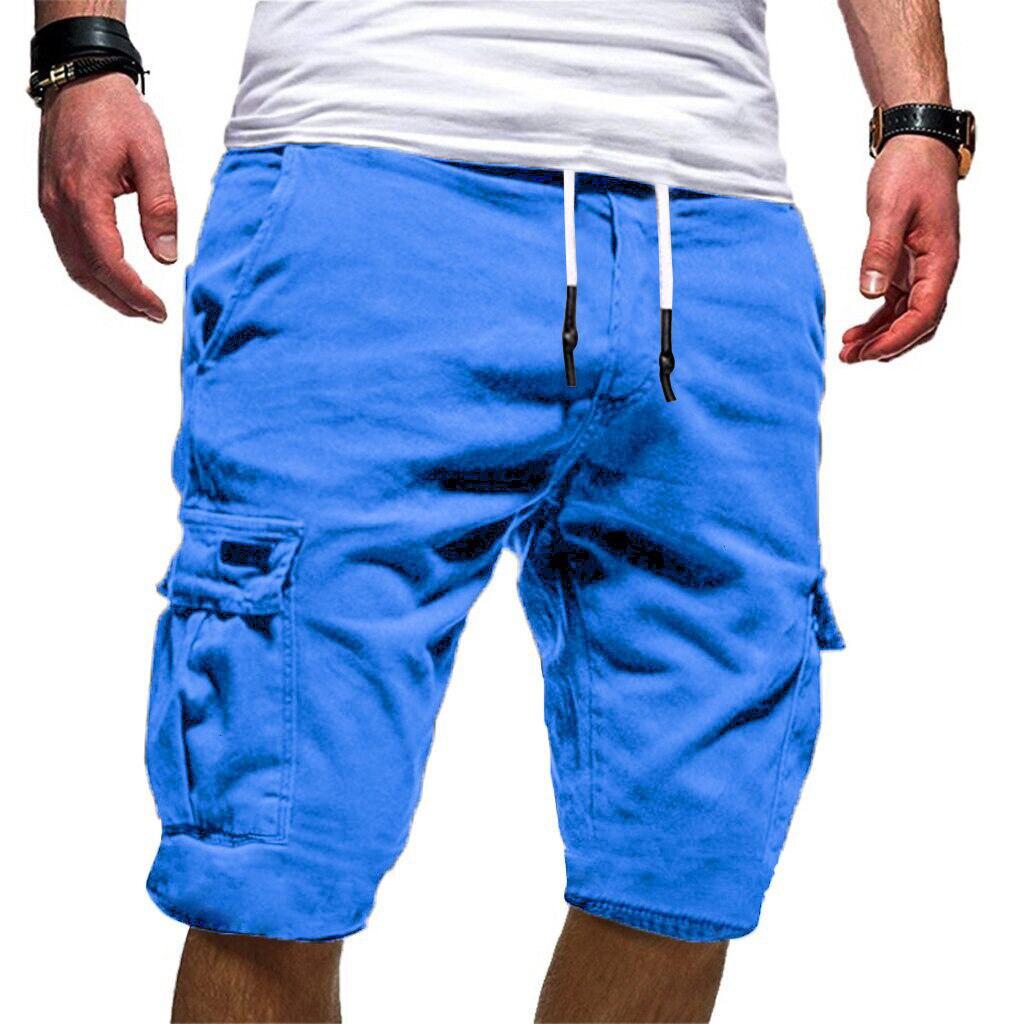 Straight Men's Shorts Cargo Men's Sport Pure Color Bandage Casual Loose Sweatpants Drawstring Shorts Pant Men Shorts Large Size