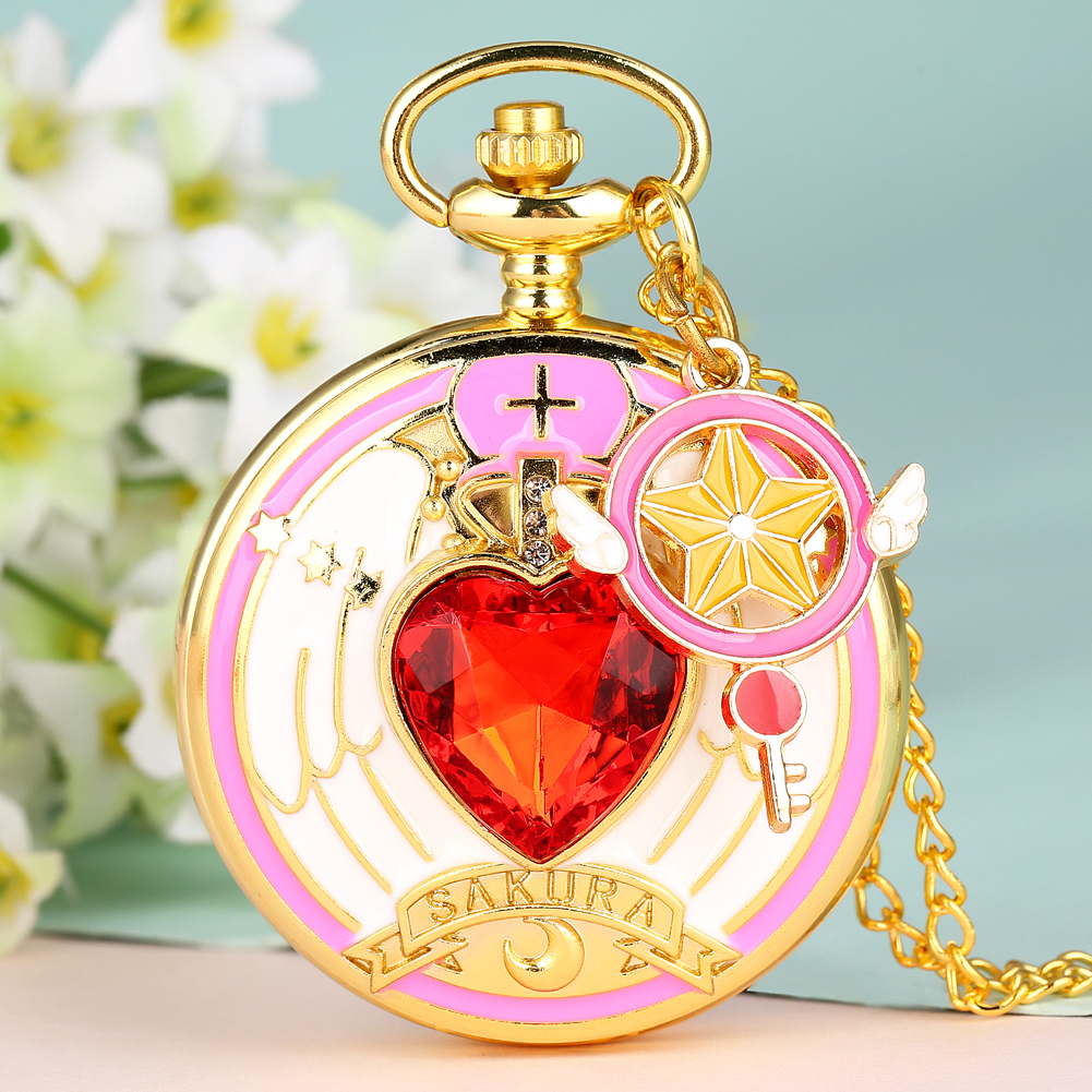 Luxury Pocket Watch Cardcaptor Sakura Design Quartz Watches Pendant Chain Steampunk Clock Boys Girls Nice Gifts Reloj Montre