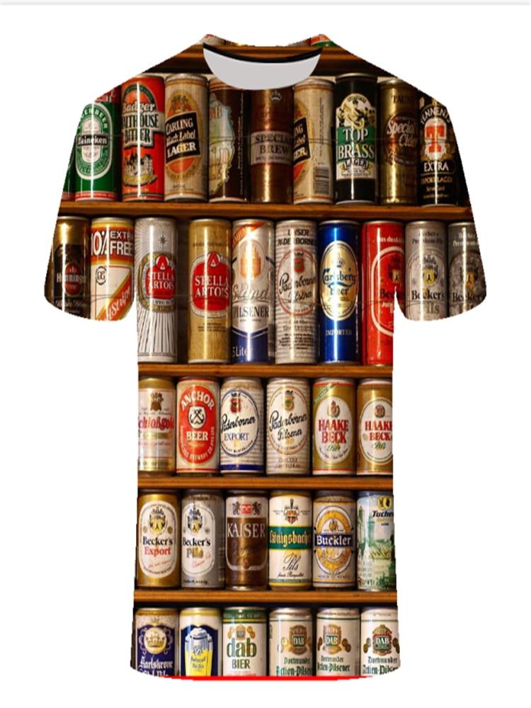 Men's Clothing Jacket Clock T-Shirt Beer Short-Sleeved Large Brand O-Neck Digital-Printing