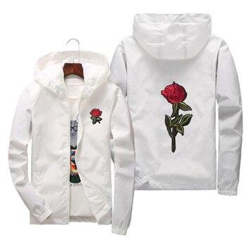 Drop Shipping Rose Bomber Jacket Men Hip Hop Slim Fit Flowers Pilot Jacket Coat Men's Hooded Jackets US Size 1