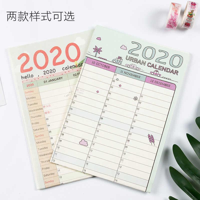 2020 Año Plan de Bloque Agenda Papel Calendario Pared 2PCS Eva Pegatinas Nice