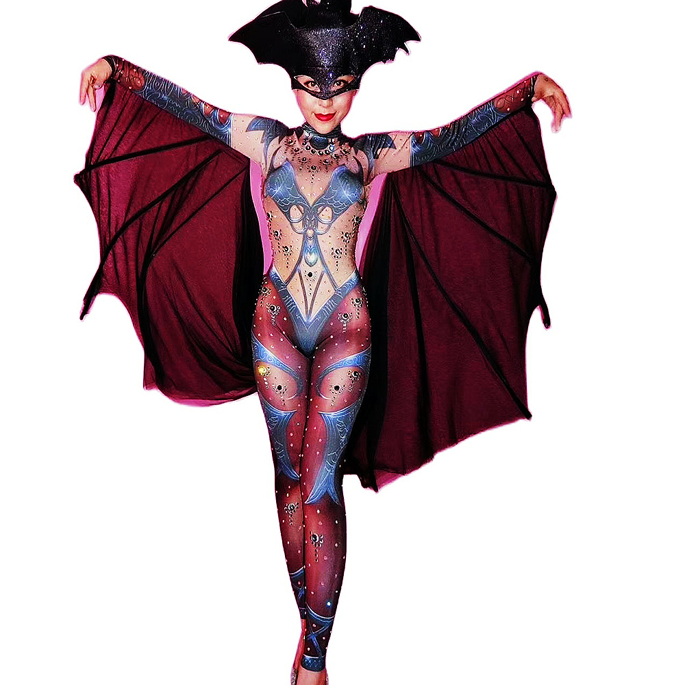Personality Women Long Sleeve Stretch Jumpsuits Nightclub Singer Dance Performance Costumes Halloween Role Playing Bat Leotard