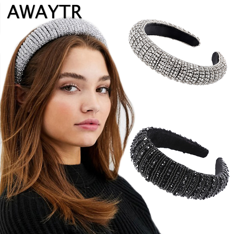 AWAYTR Silver Glitzy Luxury Full Rhinestone Headband For Women Padded Hairband Black Sliver Wide Headwear Hair Accessories