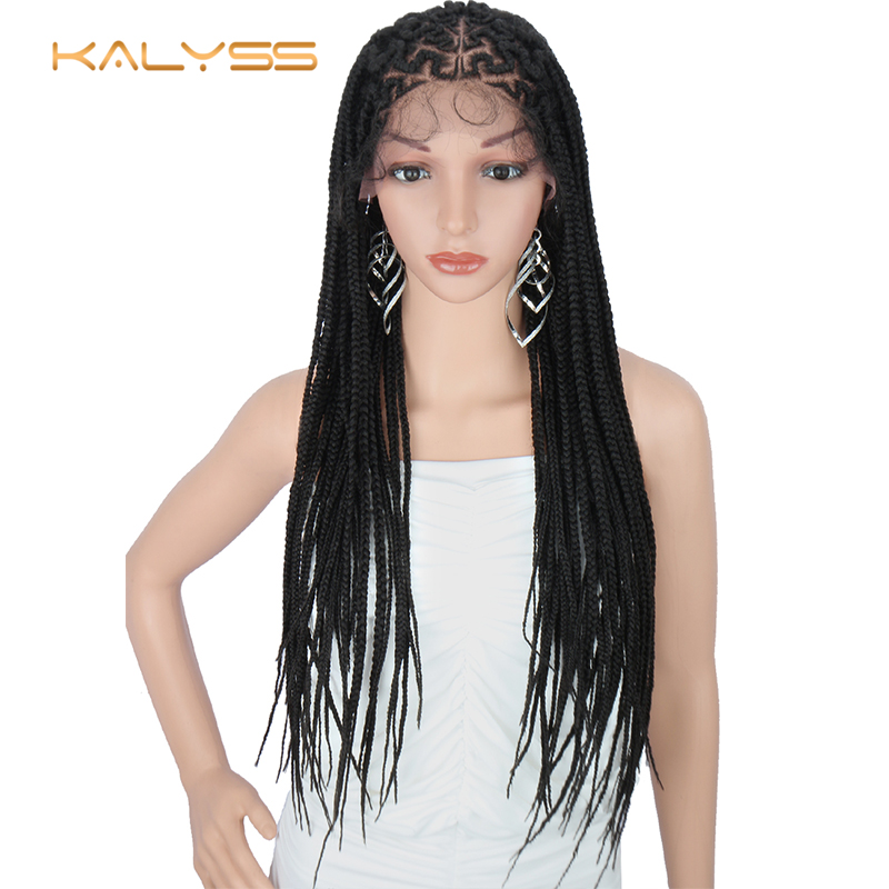 Kalyss 30 Inches 13x6 Braided Wigs Lace Frontal Slant Side Part Cornrow Braids Wig With Baby Hair Synthetic Lace Front Wig