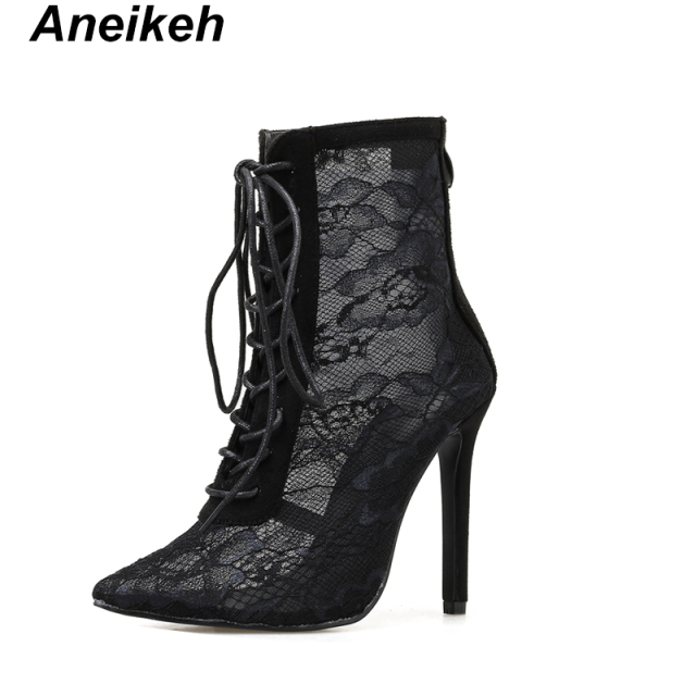 Aneikeh Black Mesh Women's Boots Fashion Pointed Toe Lace-up High Heels Women Transparent Ankle Boots Female Sandals Pumps Dress 1
