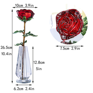 Image 5 - H&D Crystal Red Rose Flower Figurines Craft Birthday Valentines Day Favors Xmas Gifts Wedding Home Table Decoration Ornament