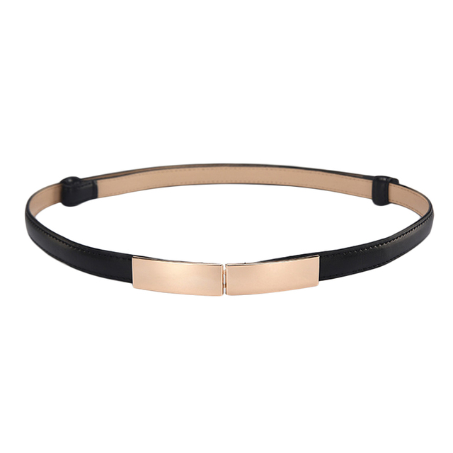 Belt dress simple versatile  Fashion Women Leather Belt Thin Skinny Metal Gold Elastic Buckle Waistband Belt Dress Accessories 2