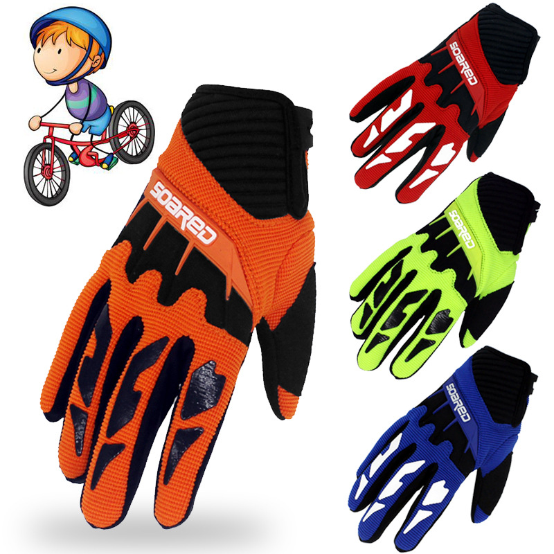 Children Skating Gloves Full Finger Adjustable Quick-release Handwear Outdoor Sportswear Accessories, 3-12 Years Old