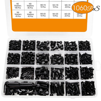 1060pcs M2 M3 M5 M4 Hex Socket Screw Set Carbon Steel Flat Round Cap Head Screws Bolts and Nuts Assortment Kit with Storage Box 1