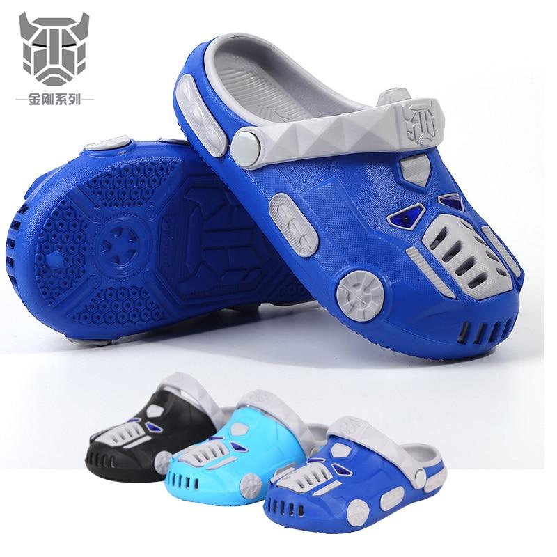 Adidase Sandals Transformerse Cartoon Car Beach Boys Children Kids Slippers Crocks Nikec Clogs Garden Hole Shoes Crocse