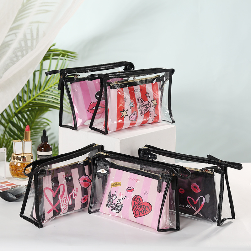 2020 New Summer stripe PVC Transparent Black Cool Cosmetic Bag 2-piece Set PU Travel Makeup Bag Toiletry Storage case image