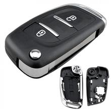 цена на 2 Buttons Car Key Fob Case Shell Replacement Flip Folding Remote Cover HU83 Blade Fit for Peugeot 107 207 307 307S 308 407