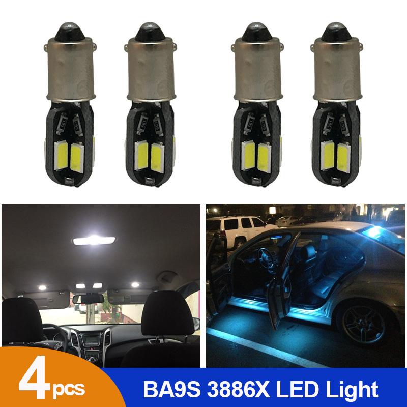 4pcs White Ice Blue Canbus T4W BA9S 8SMD 5630 Car LED Interior Lamp Side Marker Map Reading Bulb Door License Plate Light