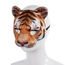 EVA Halloween Tiger Half Face Mask Cosplay Masquerade Party Realistic Look Facial Costume Dress Up Props Decoration
