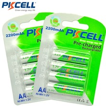 8pcs/2 카드 PKCELL AA 충전식 배터리 AA NiMH 1.2V 2200mAh Ni MH 2A 사전 충전 된 Bateria 낮은 자체 방전 aa 배터리