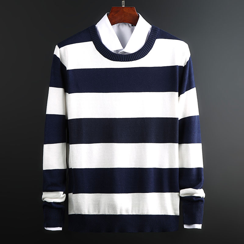 2019 New Fashion Brand Sweater For Mens Pullovers Striped CSlim Fit Jumpers Knit Warm Autumn Korean Style Casual Men Clothes