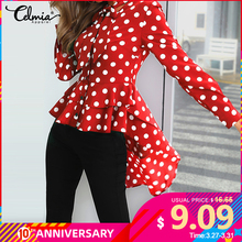 Polka Dot Bow Tie Long Sleeve Top Celmia Fashion Women's Blouses Asymmetrical Tu