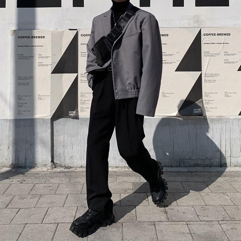 Men 2PCS Suits Sets (jacket+pant) Male Japan Streetwear Vintage Casual Short Suit Coat Blazer Jacket Outerwear Straight Trousers