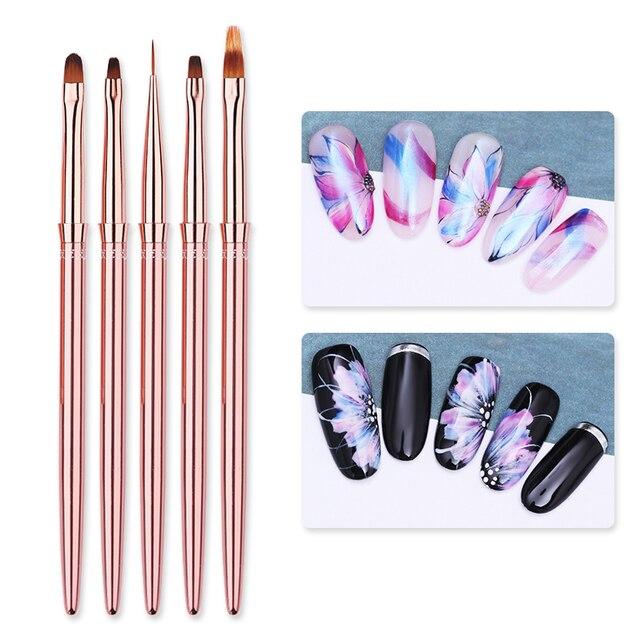 1 Pcs Rose Gold UV Gel Liner Painting Brush Portable Drawing Nail Brush Pen Handle  Nail Art Tool 3