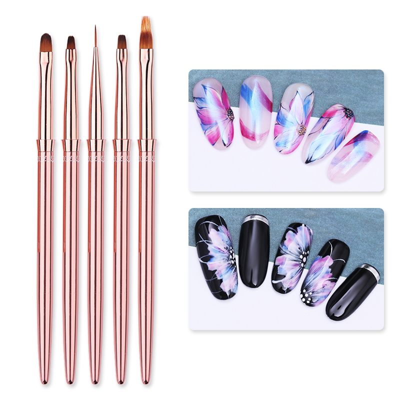 1 Pcs Rose Gold UV Gel Liner Pen Painting Drawing Portable Nail Brush Pen Handle Manicure Nail Art Painting Tool