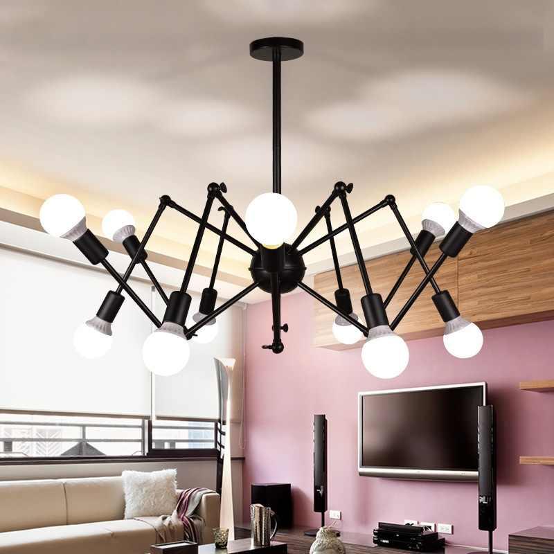 Industrial americano Lustres luzes Individualidade Artística de Ferro Aranha Viúva Negra Retro Vento Bar luminária AC110-240V