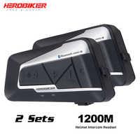 HEROBIKER casque de moto Interphone étanche sans fil Bluetooth Interphone moto casque Interphone pour 2 manèges 1200M 2 ensemble