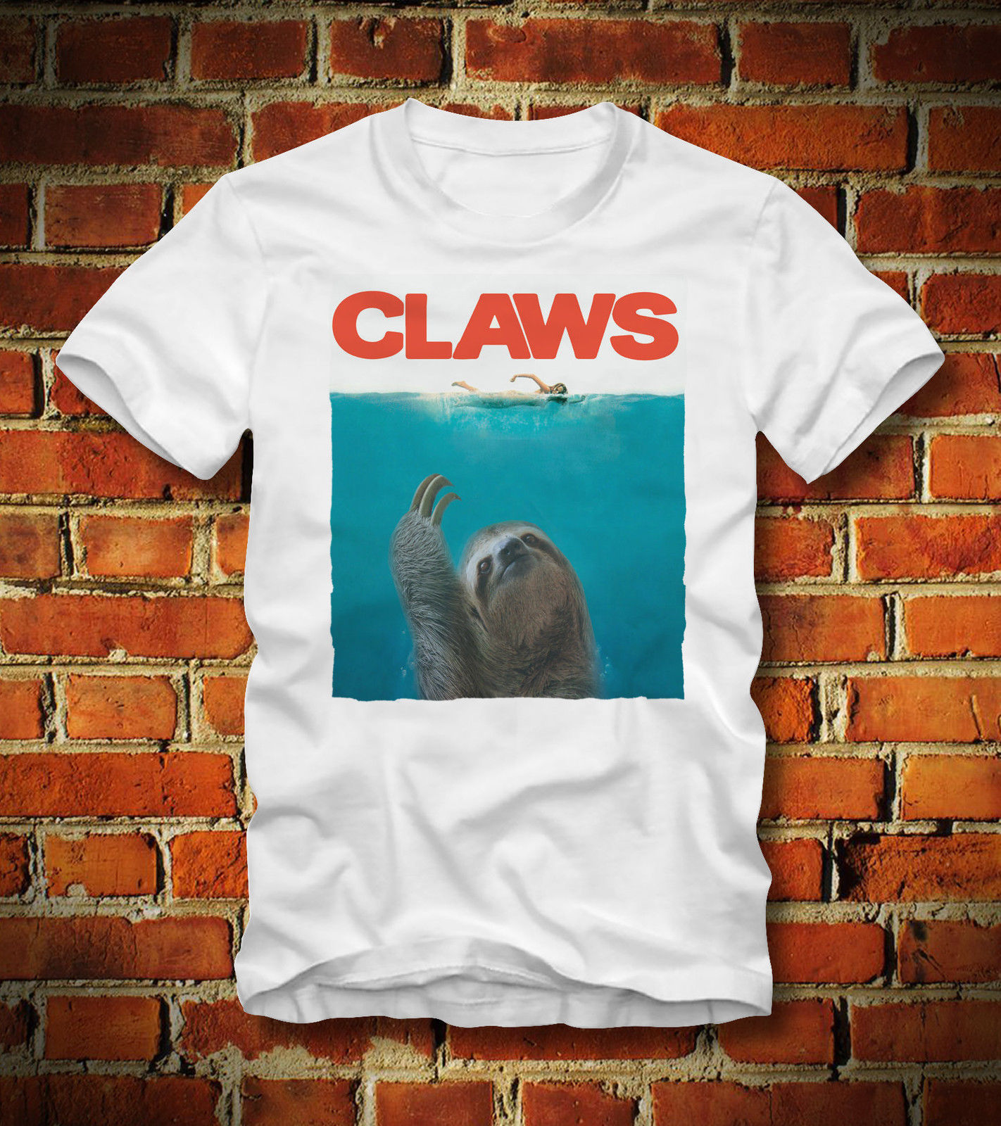 T SHIRT CLAWS SLOTH DER WEISSE HAI JAWS FAULTIER KLAUEN HORROR MOVIECartoon t shirt men Unisex New Fashion tshirt free shipping
