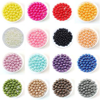 100 sztuk worek z otworem korale imitujące perły wykonane z ABS 4 6 8 10 12MM okrągłe plastikowe akrylowe paciorek do naszyjnika dla majsterkowiczów komponenty do wyrobu biżuterii tanie i dobre opinie AGCFABS NONE Pearl Idealnie okrągłe Symulowane perłowej Koraliki Okrągły kształt Moda S-AC0039 Red White Black Blue Green Purple Glod Silver Pink