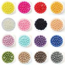 100 pçs/saco com furo abs imitação pérola grânulos 4/6/8/10/12mm redondo plástico acrílico espaçador grânulo para diy joias fazendo descobertas
