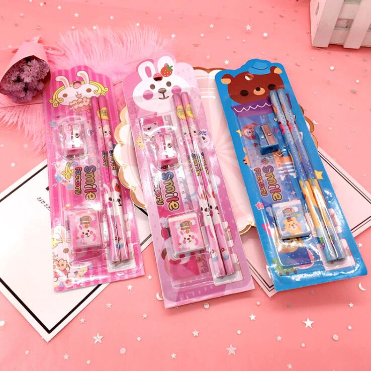 5pcs/set Kawaii Bear Rabbit Kindergarten Gift Prize Kids HB Wood Pencil Ruler Sharpener Eraser School Stationery Gift Set
