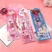 5 unids/set oso Kawaii conejo Kinder Premio niños HB lápiz de madera gobernante sacapuntas escuela goma de borrar regalo de papelería de