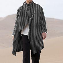 Irregular-Coats Poncho Trench Outerwear Retro-Button Long-Sleeve INCERUN Fashion Man