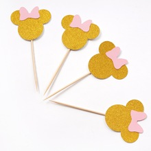 10pcs Cartoon Minnie Mouse Birthday Party Cake Decorations Kids Baby Shower Topper Supplies