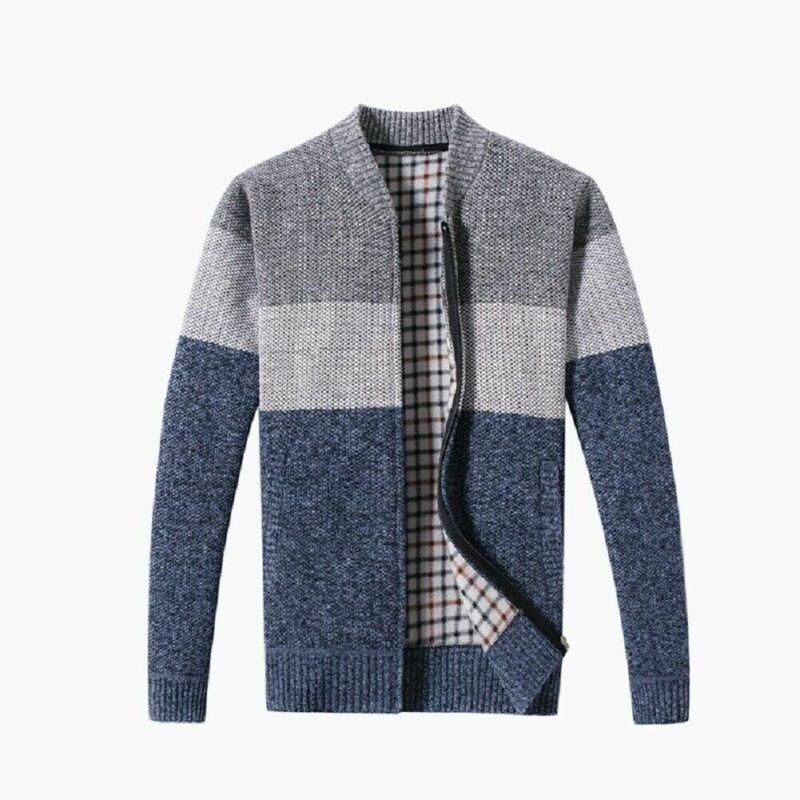Korean Modis Men Winter Sweater Zipper Cardigan Warm Knitted Male Sweater Stripe Thick Top Overcoat Streetwear Men Sweater 1