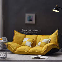 Piso dobrável sofá cama de linho tecido ajustável lounge sofá cama preguiçoso sala de estar móveis com 2 travesseiros removível cobrir