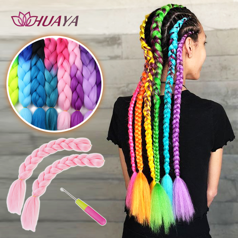 HUAYA Colored Hair Extensions Braids Ombre Color Jumbo Braids Crochet Wig  86 Colors 24