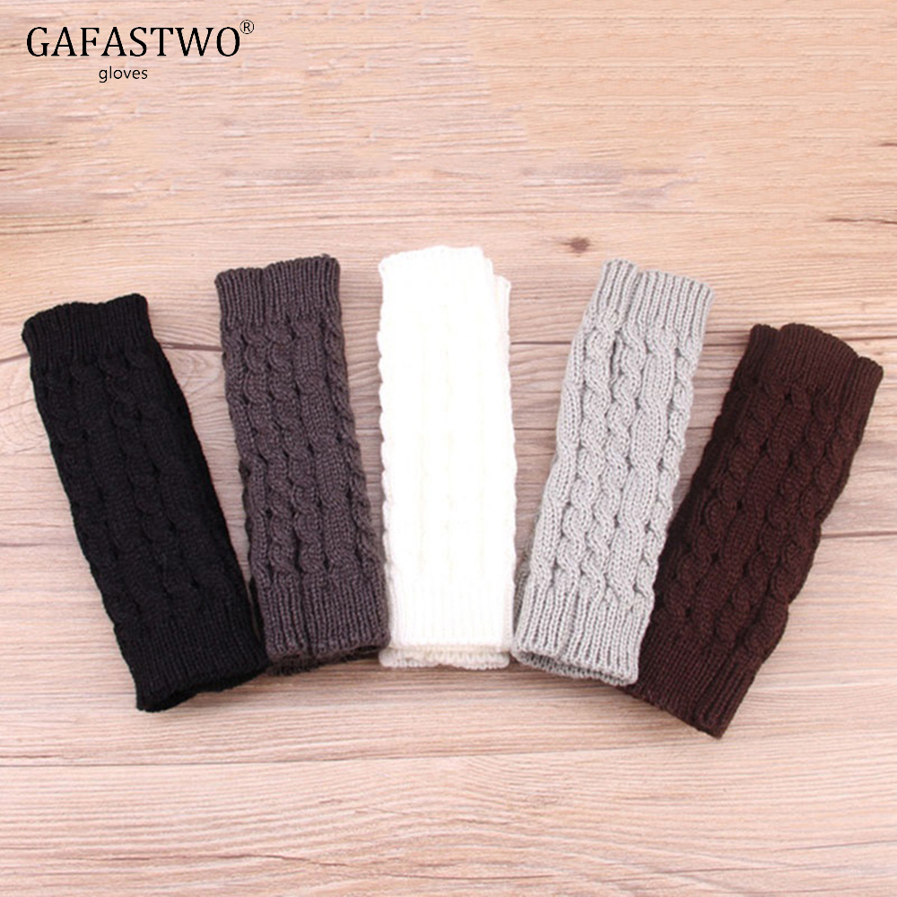 Female Autumn And Winter Half Finger Wool Warm Knit Gloves Women Winter Eight Word Twist Short Gloves Arm Sleeve