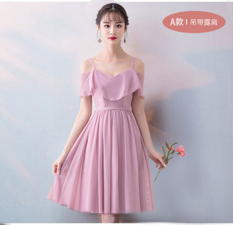 A-Line Chiffon Bridesmaid Dresses Short Pink Women Wedding Party Dress Elegant Sleeveless Boat Neck Sexy Dress Simple Vestido