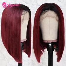 Pelucas de Bob corto 13x4, pelucas de cabello humano rectas de encaje frontal 99J, pelucas prearrancadas de pelo peruano por encima de los hombros para mujeres negras, pelo AliPearl