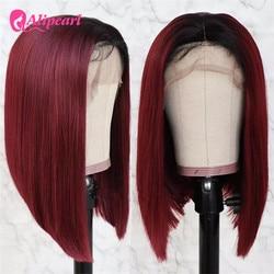 AliPearl Hair Wig 1B/99J 13x4 Short Bob Wigs Straight Lace Front Human Hair Wigs 1B/27 Brazilian Colored Bob Wigs Pre Plucked