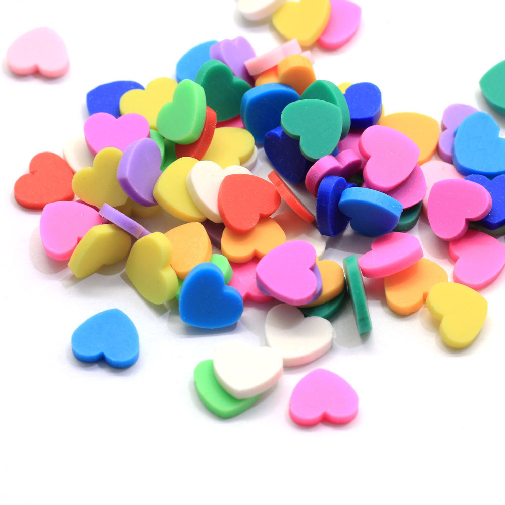 Boxi 10g Cute Polymer Clay Hearts Slime Additives Supplies Slice Sprinkles Decoration For Fluffy Cloud Clear Slime Clay Toy