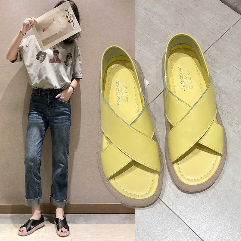 Letnie kobiety obuwie kapcie rzym Retro grube dno sandały z odkrytymi palcami plaża Slip On slajdy szybka wysyłka Sapato Feminio
