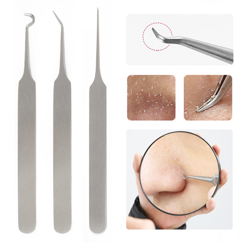 3Pcs Blackhead Remover Tool Kit Stainless Steel Pimple Extractor Tweezer Blemish Extractor Face Skin Remover Needles Bend
