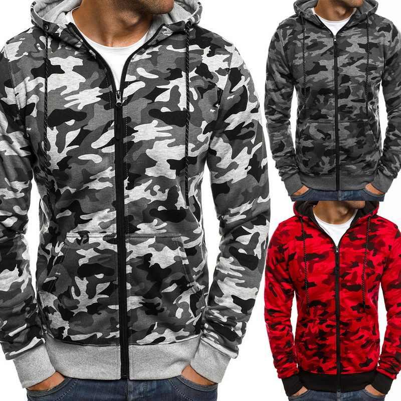 Männer Camo Mit Kapuze Sweatshirts Männer Mode Camouflage Gedruckt Sweatershirts Mantel Herbst Casual Zipper Hoodies Jacke Outwears