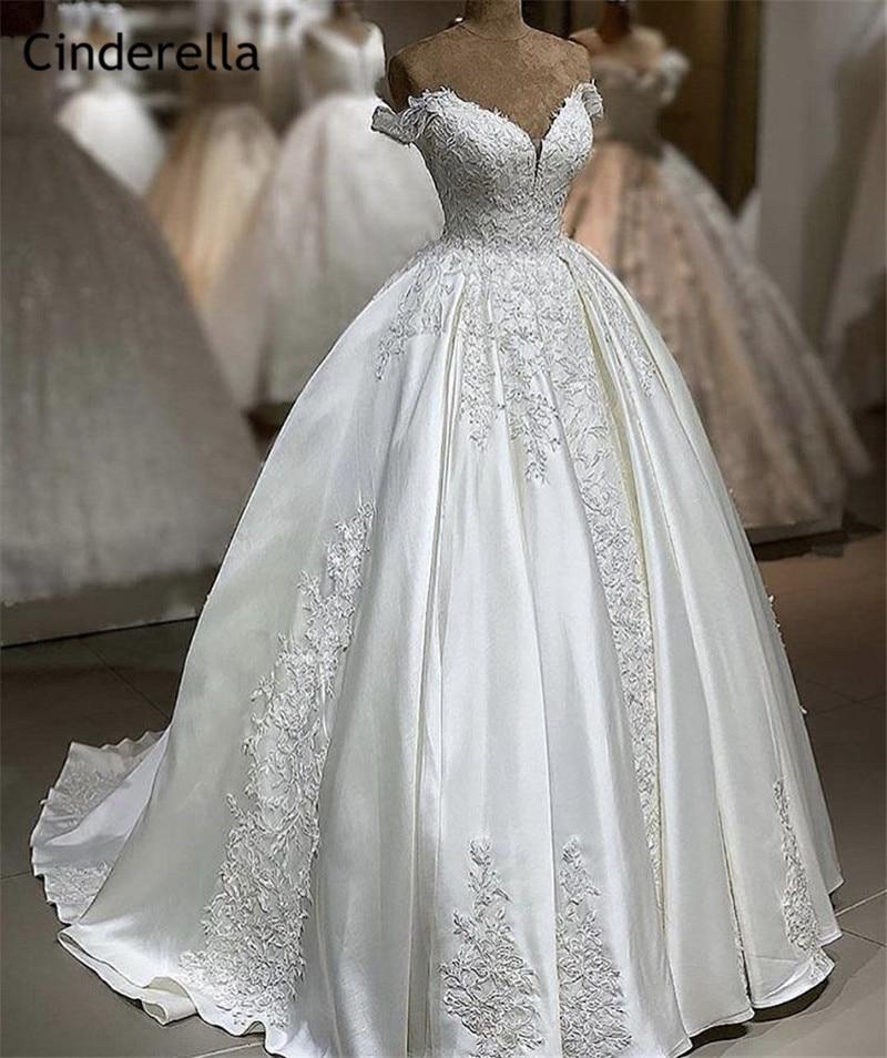 Cinderella Off The Shoulder A-Line Sweep Train Lace Up Back Lace Applique Crystal Beaded Satin Wedding Dresses vestido de noiva