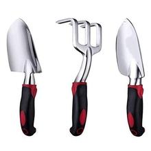 3 szt Zestaw narzędzi ogrodowych łopaty ręczne do dużych obciążeń z odlewu aluminiowego zacieraczki ogrodowe ręczne grabie z antypoślizgowym gumowy uchwyt tanie tanio tuosen NONE CN (pochodzenie)